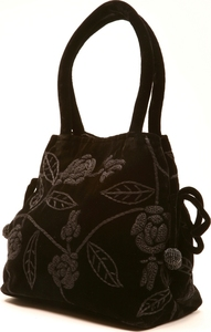 Black Embroidered Velvet Handbag