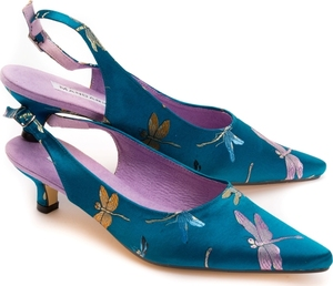 Teal Dragonfly Brocade Kitten Slingback