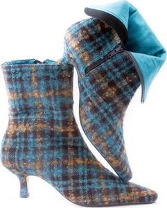Teal & Ochre Tweed Ankle Boot