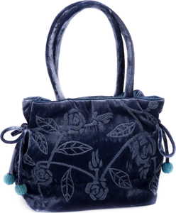 Grey-Blue Embroidered Velvet Handbag