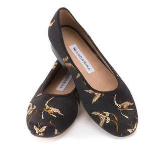 Black Butterfly Silk Pumps