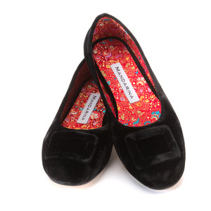 Black Velvet Buckle Pumps