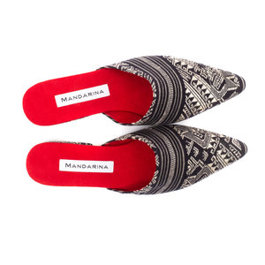 Black & White Silk Ikat Flats
