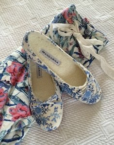 Blue Chintz Slippers