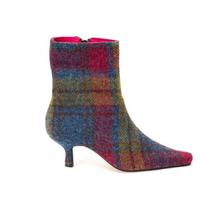 Blue Pink Green Harris Tweed Ankle Boots