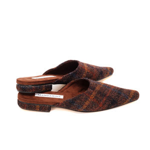 Brown Check Harris Tweed Flats
