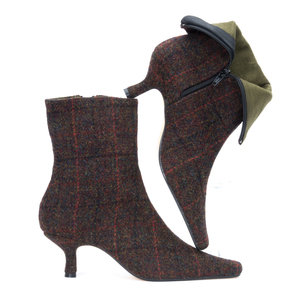 Brown Multi Check Harris Tweed Ankle Boots