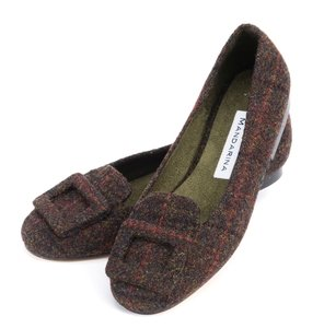 Brown Multi Check Tweed Buckle Loafers