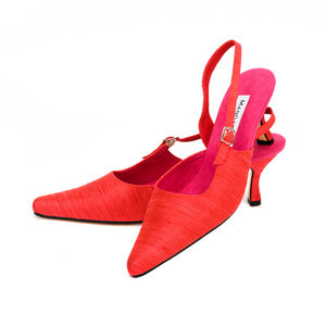 Cardinal Silk Party Slingbacks