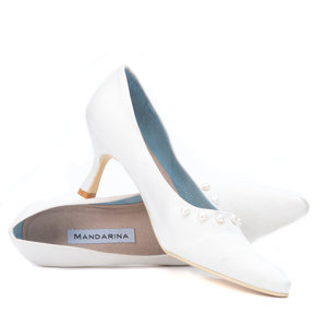 Classic Pearl & Satin Wedding Court Shoe