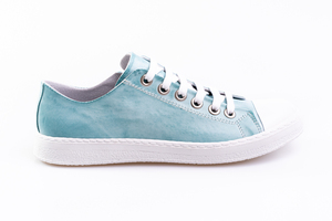 Cyan Leather Sneakers