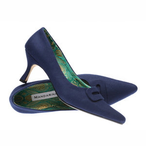 French Navy Buckle Court Shoes