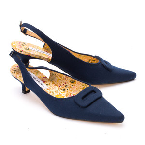 French Navy Kitten Heels