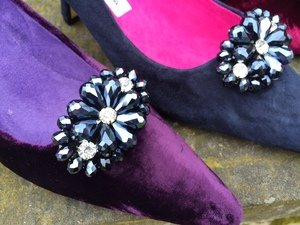 GRAPHITE & DIAMOND CLUSTER SHOE CLIPS