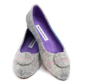 Grey Tweed Button Pumps