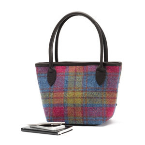 Harris Tweed Bucket Bag / Blue Green Pink Multi Check