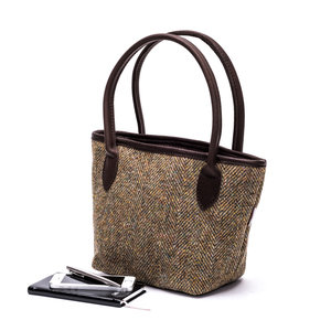 Harris Tweed Bucket Bag / Moss Herringbone