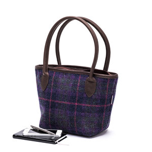Harris Tweed Bucket Bag / Purple Grid