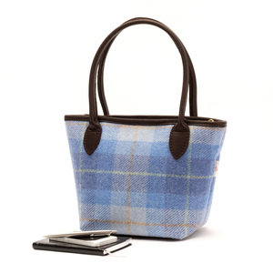 Harris Tweed Bucket Bag / Sky