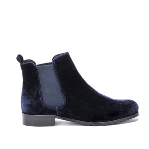 Midnight Blue Velvet Chelsea Boots