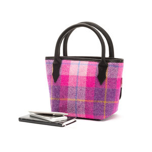 Mini Tweed Bucket Bag / Hot Pink Check