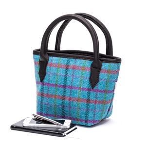 Mini Tweed Bucket Bag / Turquoise Check