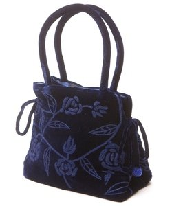 Navy Blue Embroidered Velvet Handbag