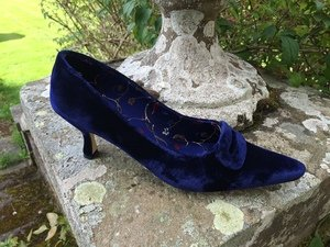 Navy Velvet Buckle Court Shoe