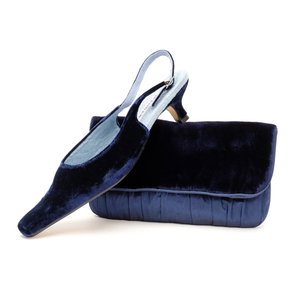 Navy Velvet Slingbacks size UK4