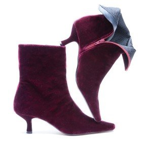 Cherry Velvet Ankle Boot
