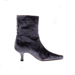 Grey Velvet Ankle Boot