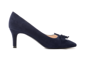 Navy Bow Trim Court Shoes