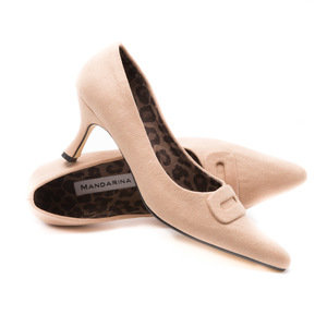 Nude Suede Court Shoe