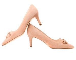 Nude Suede Court Shoes