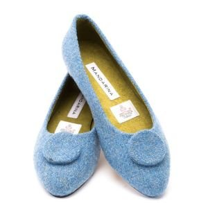 Powder Blue Tweed Button Pumps Size UK3/Euro 36