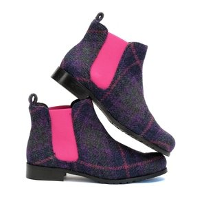 Purple & Pink Harris Tweed Chelsea Boots