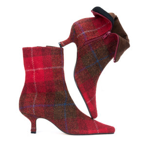 Red Check Harris Tweed Ankle Boots