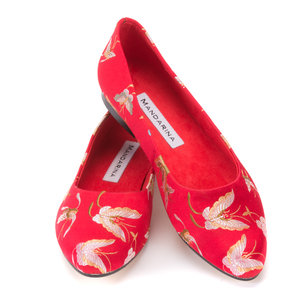 Red & Gold Butterfly Brocade Pumps