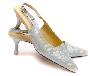 Silver-Blue Slingbacks / seconds