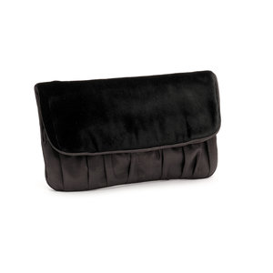 Taffeta & Velvet Clutch Bag, Black