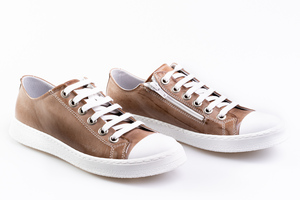 Taupe Leather Sneakers