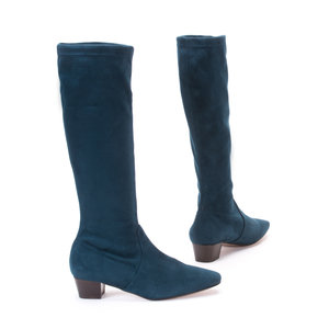 Blue-Green Stretch Suede Long Boots