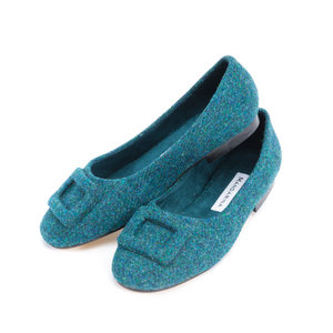 Teal Fleck Harris Tweed Buckle Pumps