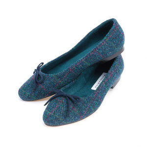 Teal Mini Check Harris Tweed Pumps