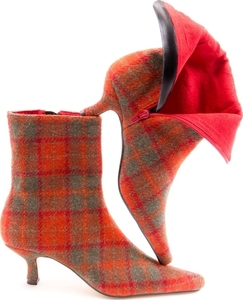 Mandarina Orange Check Tweed Pixie Boots