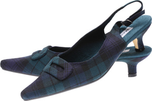 Black Watch Tartan Kitten Heel Shoes