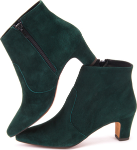 Teal Green Suede Ankle Boots