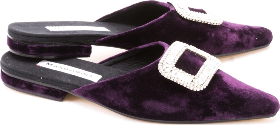 Purple Velvet Diamante Cocktail Flats
