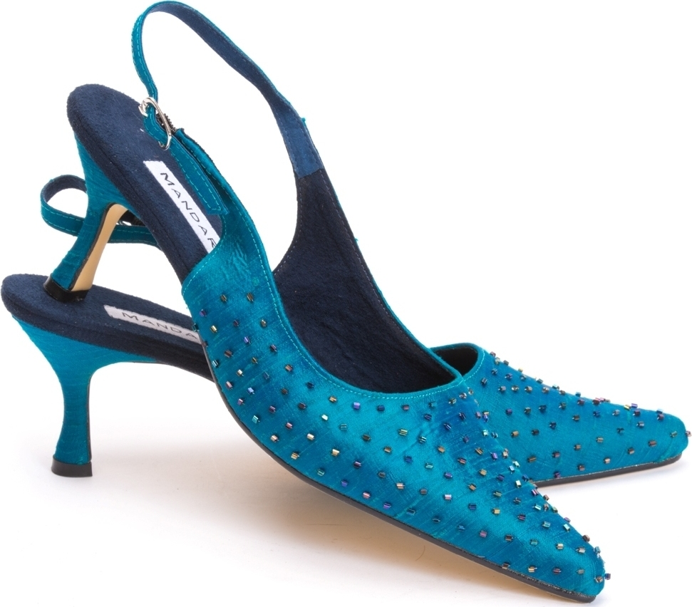 Alicia Beaded Evening Shoes / Peacock