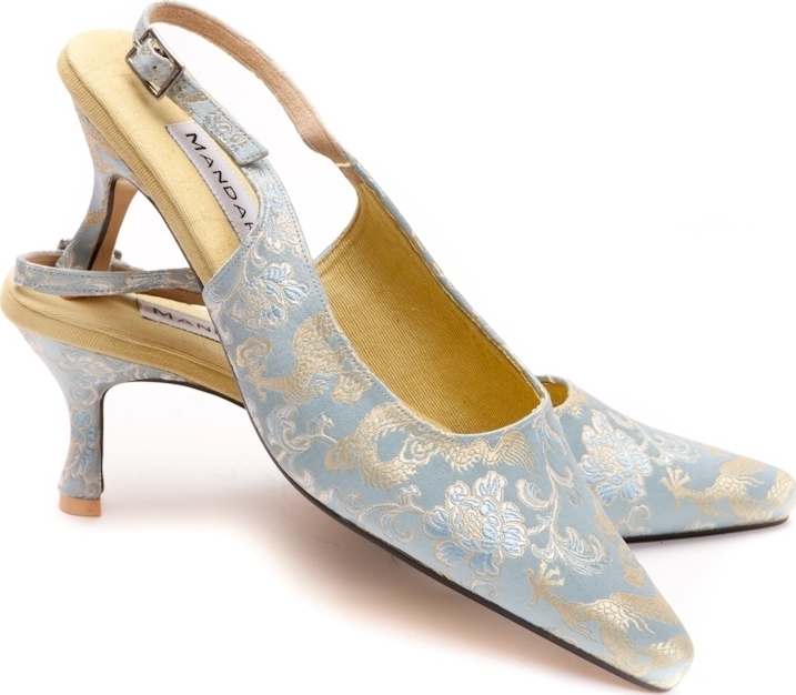 Belle Silver-Blue Slingbacks